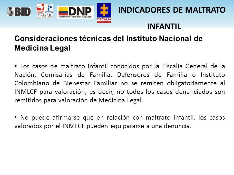 Consideraciones técnicas del Instituto Nacional de Medicina Legal Los casos de maltrato infantil conocidos por la Fiscalía General de la Nación, Comis