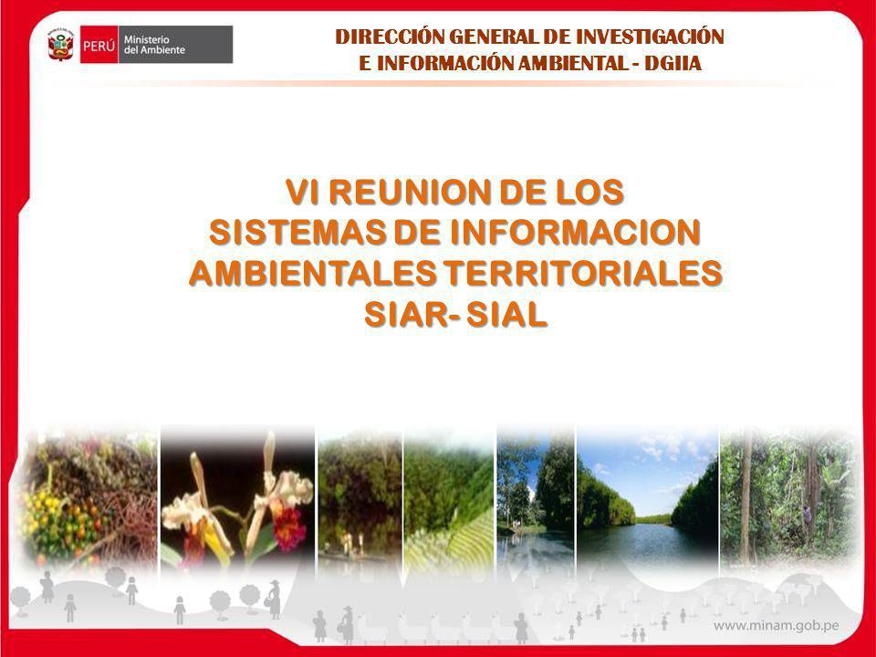 VI REUNION DE LOS SISTEMAS DE INFORMACION AMBIENTALES TERRITORIALES SIAR- SIAL DIRECCIÓN GENERAL DE INVESTIGACIÓN E INFORMACIÓN AMBIENTAL - DGIIA