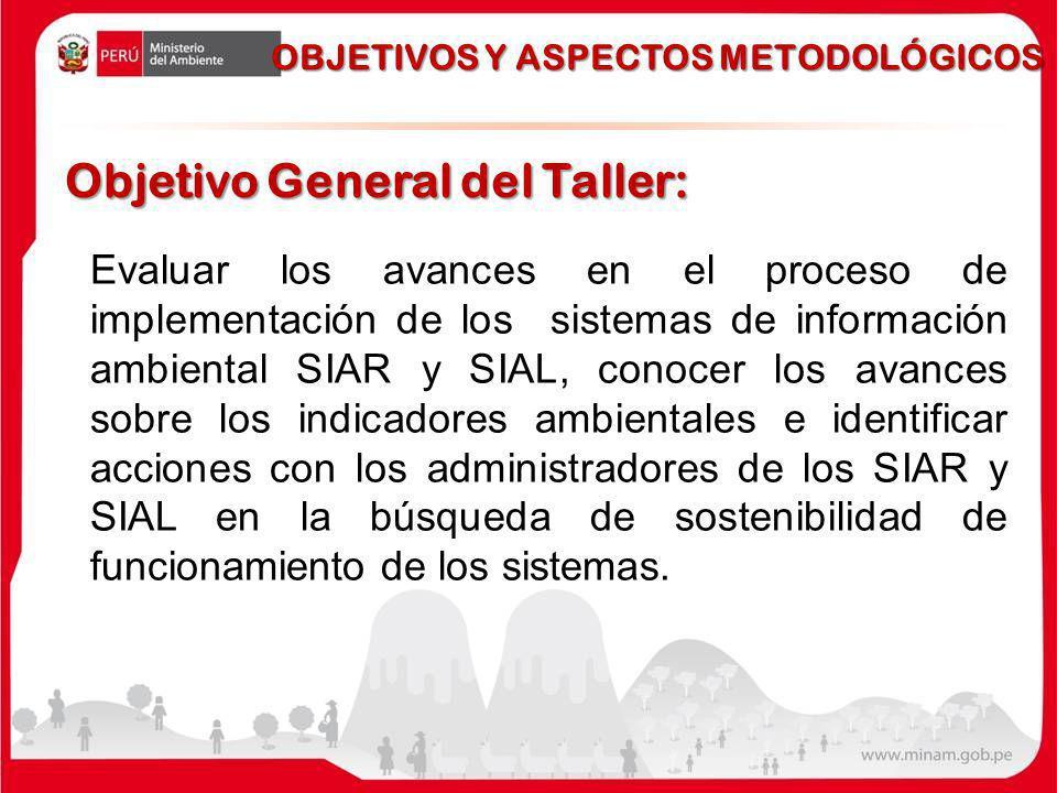 Objetivo General del Taller: Evaluar los avances en el proceso de implementación de los sistemas de información ambiental SIAR y SIAL, conocer los avances sobre los indicadores ambientales e identificar acciones con los administradores de los SIAR y SIAL en la búsqueda de sostenibilidad de funcionamiento de los sistemas.