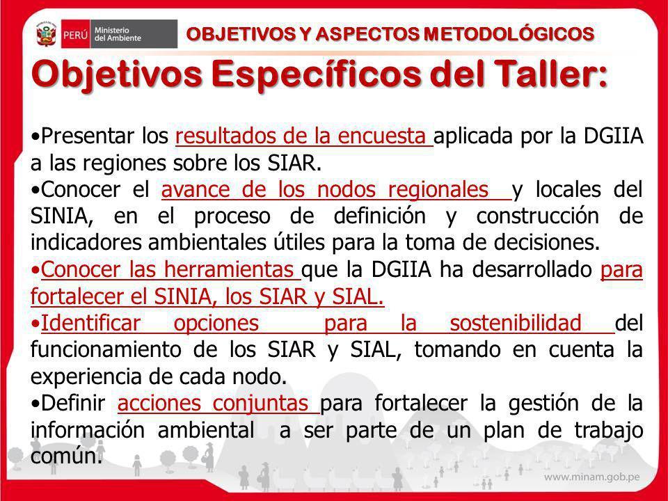 Objetivos Específicos del Taller: Presentar los resultados de la encuesta aplicada por la DGIIA a las regiones sobre los SIAR. Conocer el avance de lo