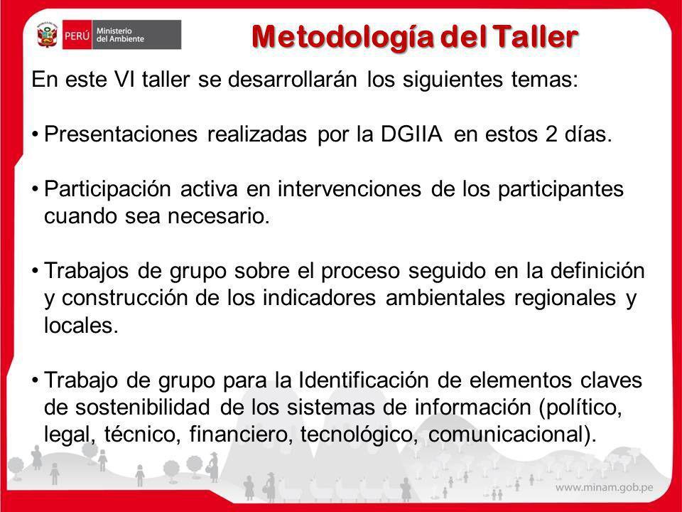 Metodología del Taller En este VI taller se desarrollarán los siguientes temas: Presentaciones realizadas por la DGIIA en estos 2 días. Participación