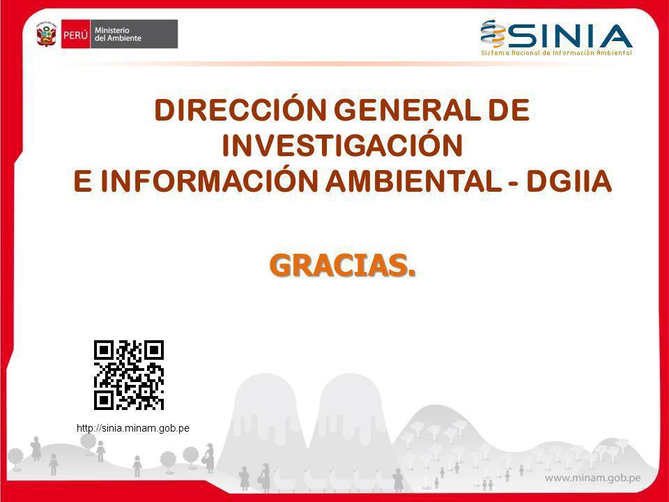 GRACIAS. DIRECCIÓN GENERAL DE INVESTIGACIÓN E INFORMACIÓN AMBIENTAL - DGIIA http://sinia.minam.gob.pe