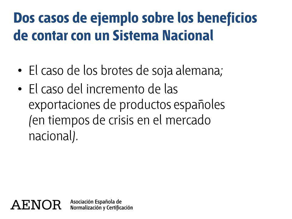 Dos casos de ejemplo sobre los beneficios de contar con un Sistema Nacional El caso de los brotes de soja alemana; El caso del incremento de las expor