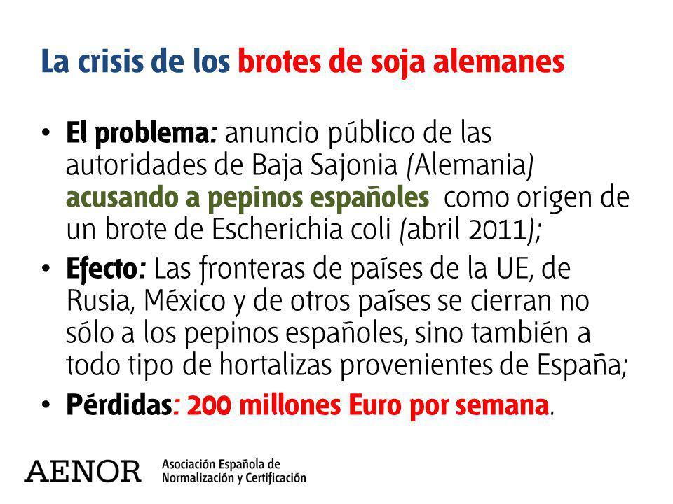 El problema: anuncio público de las autoridades de Baja Sajonia (Alemania) acusando a pepinos españoles como origen de un brote de Escherichia coli (a