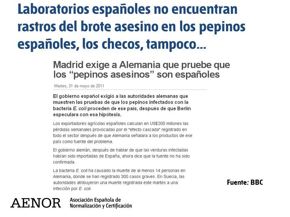Laboratorios españoles no encuentran rastros del brote asesino en los pepinos españoles, los checos, tampoco… Fuente: BBC