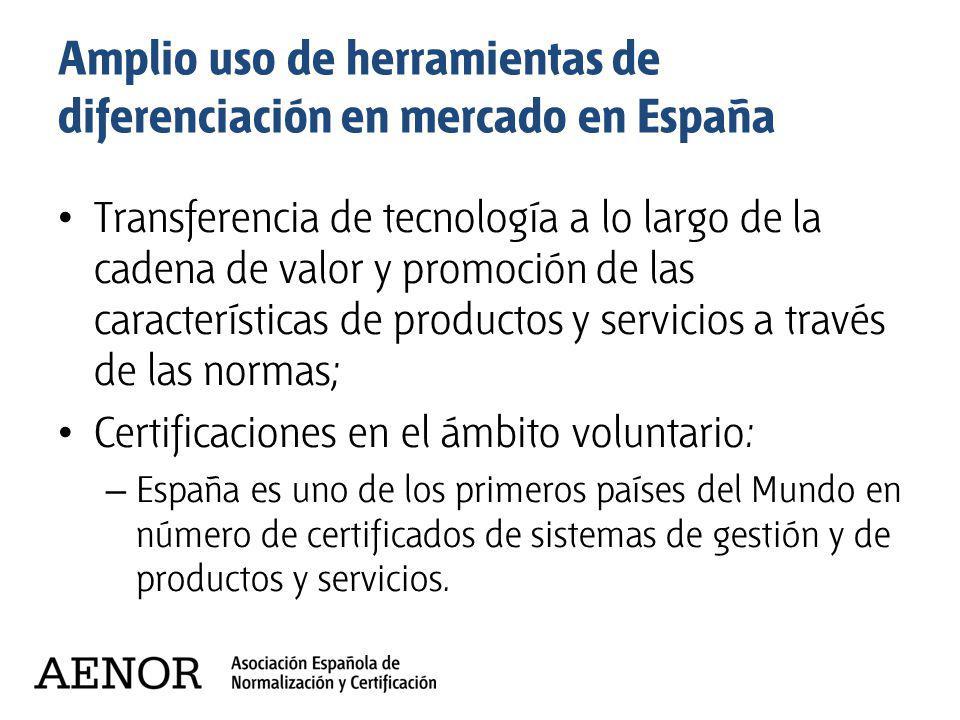 Amplio uso de herramientas de diferenciación en mercado en España Transferencia de tecnología a lo largo de la cadena de valor y promoción de las cara
