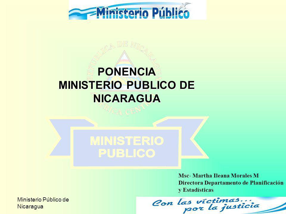 Ministerio Público de Nicaragua 1 PONENCIA MINISTERIO PUBLICO DE NICARAGUA Msc- Martha Ileana Morales M Directora Departamento de Planificación y Esta