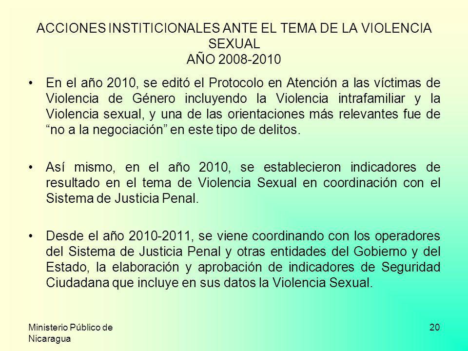 Ministerio Público de Nicaragua 20 ACCIONES INSTITICIONALES ANTE EL TEMA DE LA VIOLENCIA SEXUAL AÑO 2008-2010 En el año 2010, se editó el Protocolo en