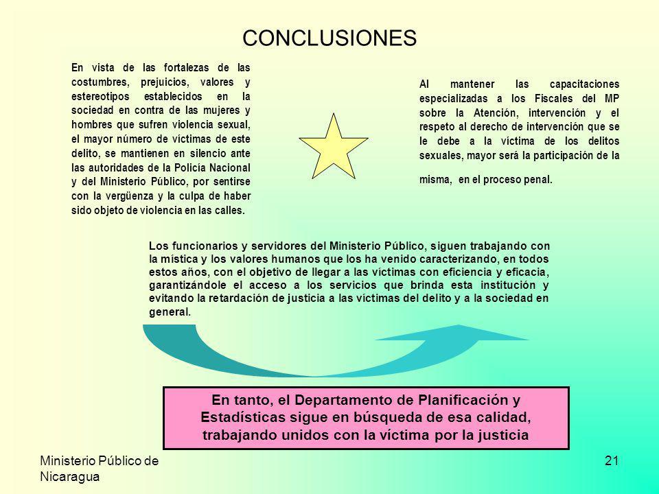 Ministerio Público de Nicaragua 21 CONCLUSIONES Al mantener las capacitaciones especializadas a los Fiscales del MP sobre la Atención, intervención y