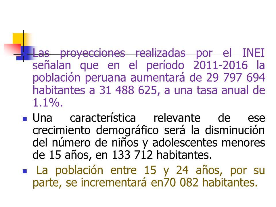 Las proyecciones realizadas por el INEI señalan que en el período 2011-2016 la población peruana aumentará de 29 797 694 habitantes a 31 488 625, a un
