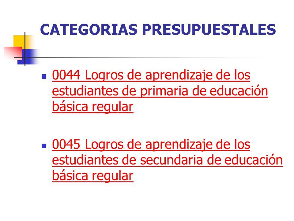 CATEGORIAS PRESUPUESTALES 0044 Logros de aprendizaje de los estudiantes de primaria de educación básica regular 0044 Logros de aprendizaje de los estu