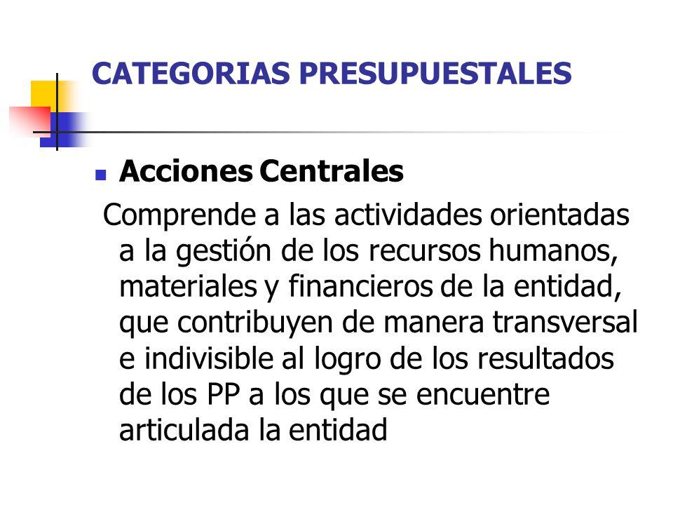 CATEGORIAS PRESUPUESTALES Acciones Centrales Comprende a las actividades orientadas a la gestión de los recursos humanos, materiales y financieros de