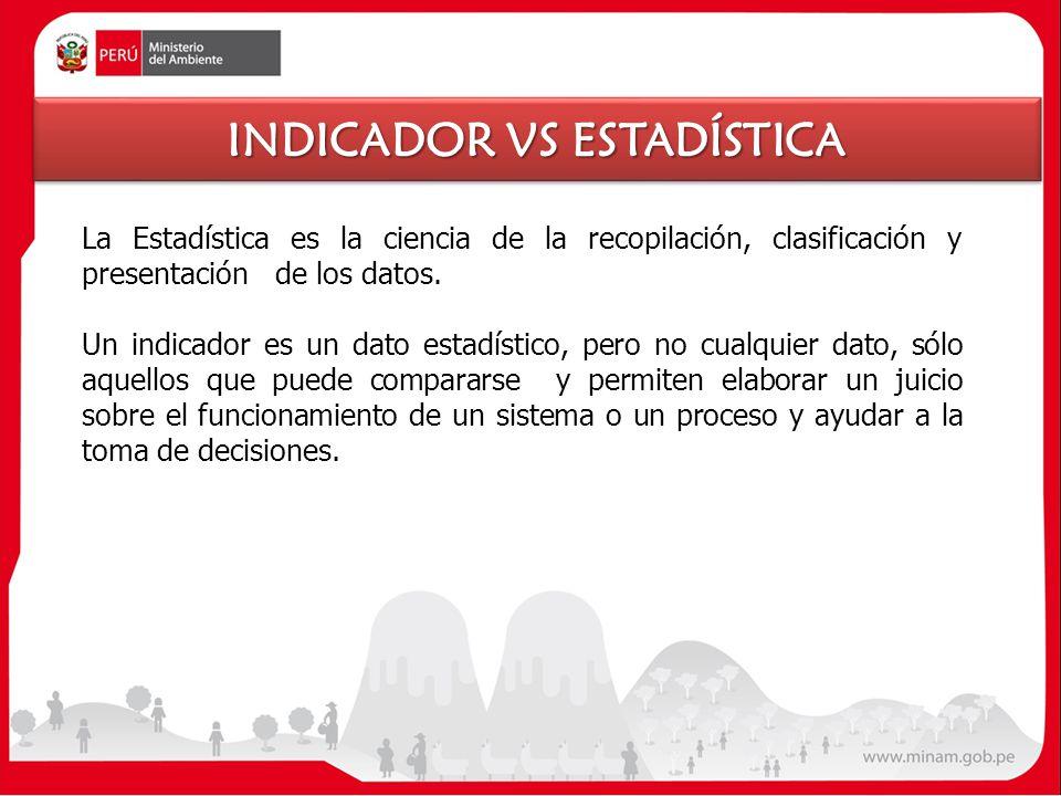 La Estadística es la ciencia de la recopilación, clasificación y presentación de los datos. Un indicador es un dato estadístico, pero no cualquier dat
