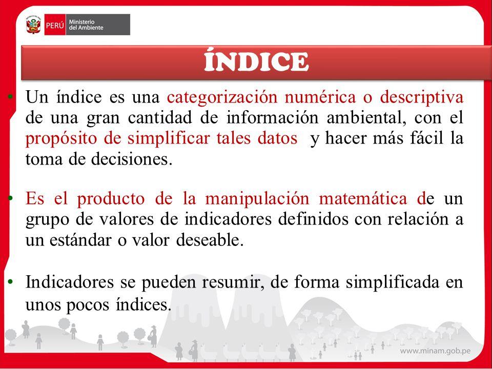 ÍNDICE Un índice es una categorización numérica o descriptiva de una gran cantidad de información ambiental, con el propósito de simplificar tales dat