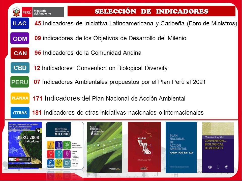 SELECCIÓN DE INDICADORES 12 Indicadores: Convention on Biological Diversity 45 Indicadores de Iniciativa Latinoamericana y Caribeña (Foro de Ministros