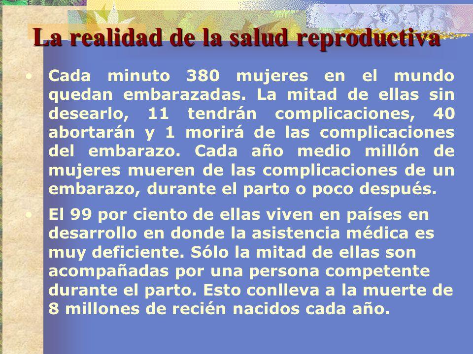 La realidad de la salud reproductiva Cada minuto 380 mujeres en el mundo quedan embarazadas. La mitad de ellas sin desearlo, 11 tendrán complicaciones
