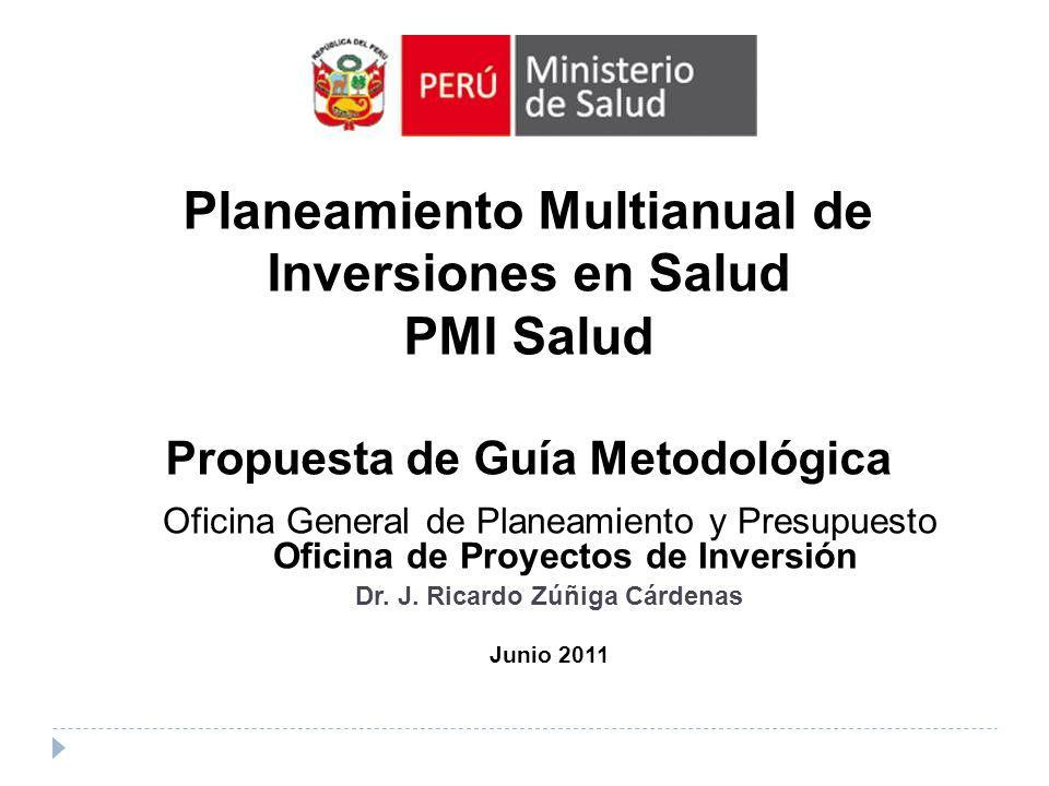 Oficina General de Planeamiento y Presupuesto Oficina de Proyectos de Inversión Dr. J. Ricardo Zúñiga Cárdenas Junio 2011 Planeamiento Multianual de I