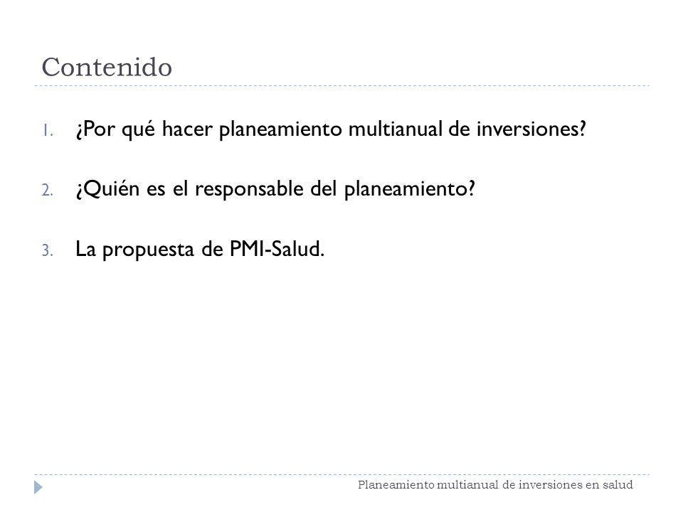 Contenido 1. ¿Por qué hacer planeamiento multianual de inversiones? 2. ¿Quién es el responsable del planeamiento? 3. La propuesta de PMI-Salud. Planea