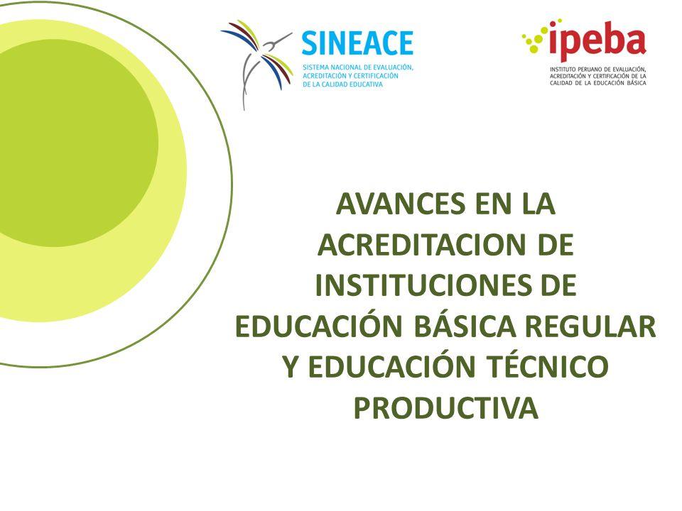 AVANCES EN LA ACREDITACION DE INSTITUCIONES DE EDUCACIÓN BÁSICA REGULAR Y EDUCACIÓN TÉCNICO PRODUCTIVA