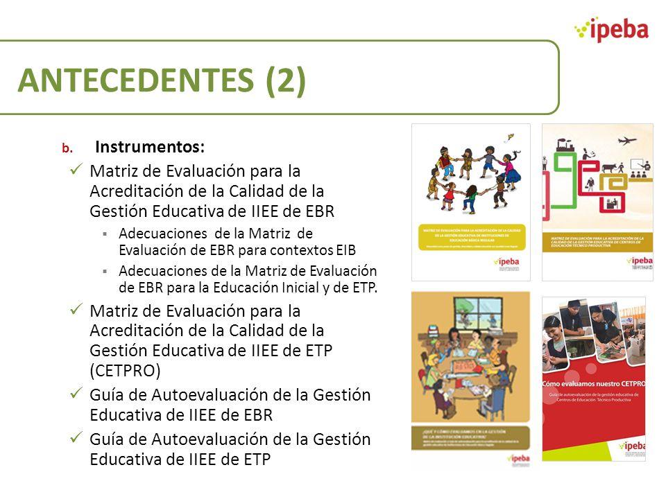 ANTECEDENTES (2) b. Instrumentos: Matriz de Evaluación para la Acreditación de la Calidad de la Gestión Educativa de IIEE de EBR Adecuaciones de la Ma