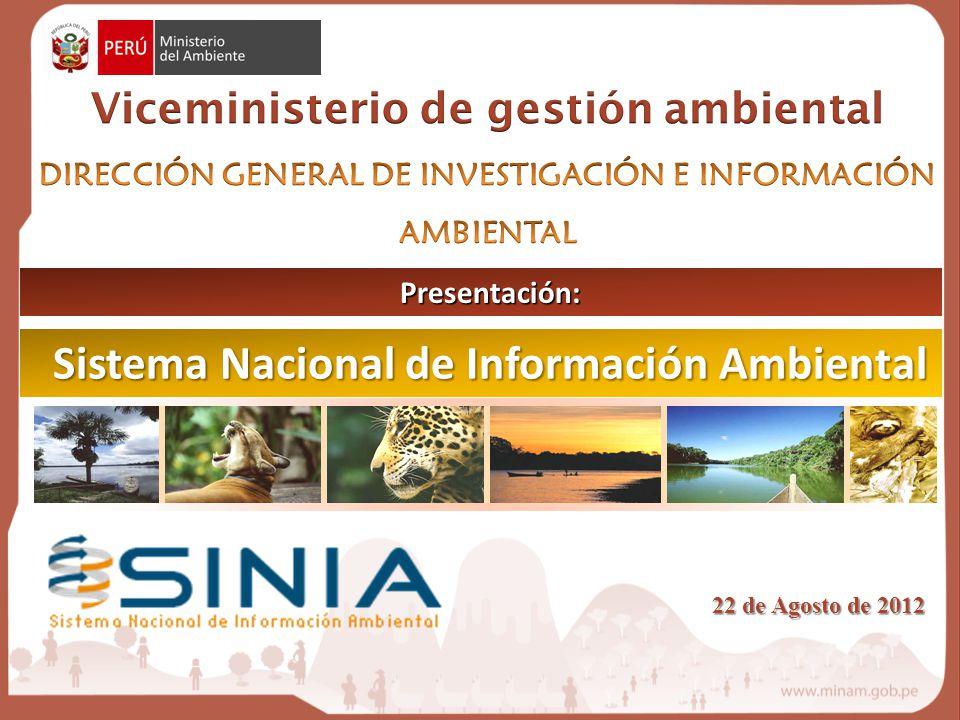 Sistema Nacional de Información Ambiental Presentación: 22 de Agosto de 2012