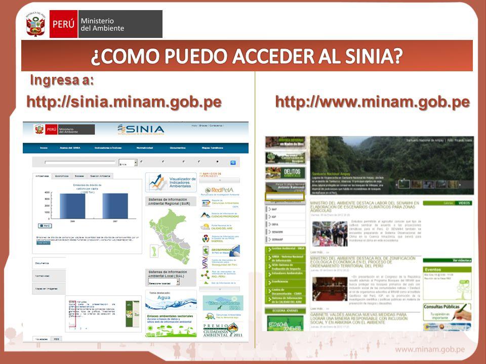 http://sinia.minam.gob.pe Ingresa a: http://www.minam.gob.pe O través del portal del MINAM