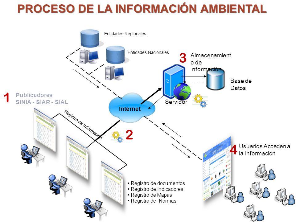 Registro de Información Base de Datos Internet PROCESO DE LA INFORMACIÓN AMBIENTAL Registro de documentos Registro de Indicadores Registro de Mapas Re