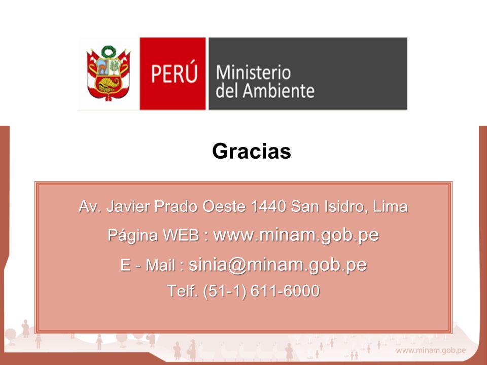 Av. Javier Prado Oeste 1440 San Isidro, Lima Página WEB : www.minam.gob.pe E - Mail : sinia@minam.gob.pe Telf. (51-1) 611-6000 Gracias
