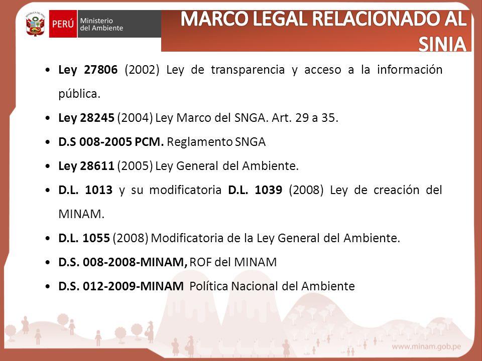 Ley 27806 (2002) Ley de transparencia y acceso a la información pública. Ley 28245 (2004) Ley Marco del SNGA. Art. 29 a 35. D.S 008-2005 PCM. Reglamen