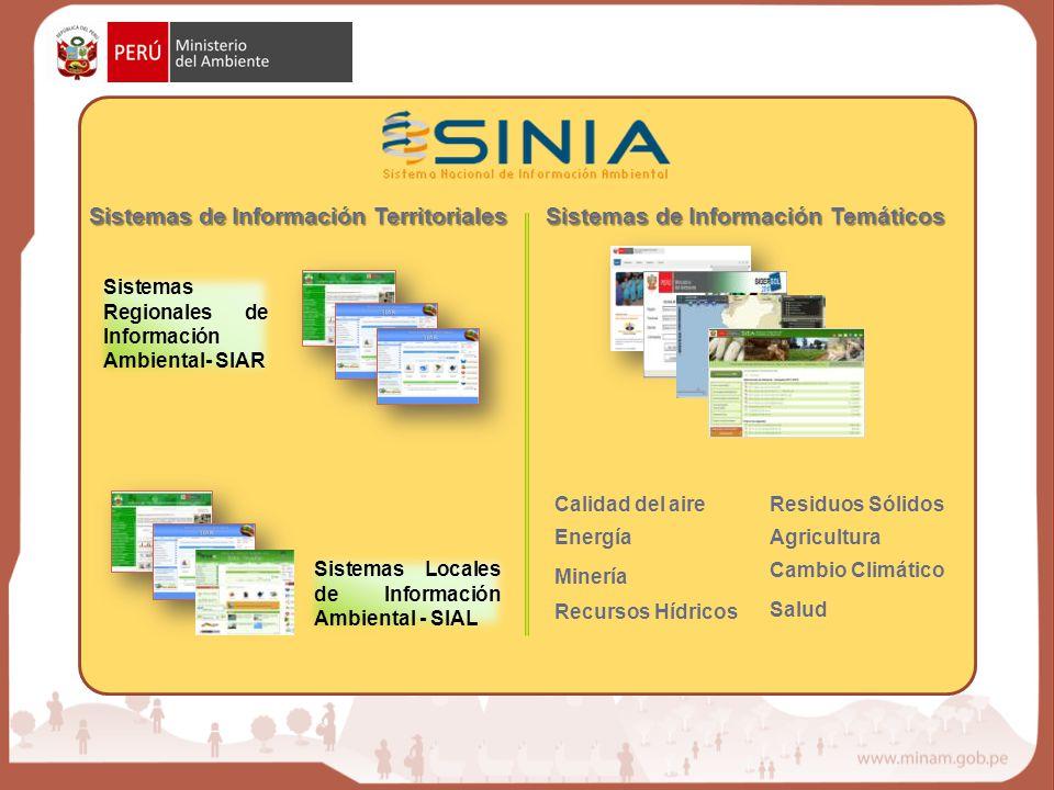 Sistemas de Información Territoriales Sistemas de Información Temáticos Sistemas Regionales de Información Ambiental- SIAR Sistemas Locales de Informa