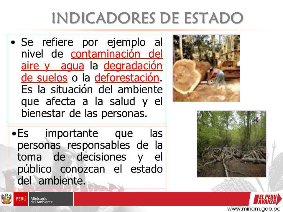 INDICADORES DE ESTADO Se refiere por ejemplo al nivel de contaminación del aire y agua la degradación de suelos o la deforestación. Es la situación de