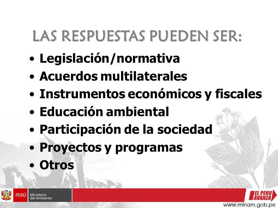 LAS RESPUESTAS PUEDEN SER: Legislación/normativa Acuerdos multilaterales Instrumentos económicos y fiscales Educación ambiental Participación de la so
