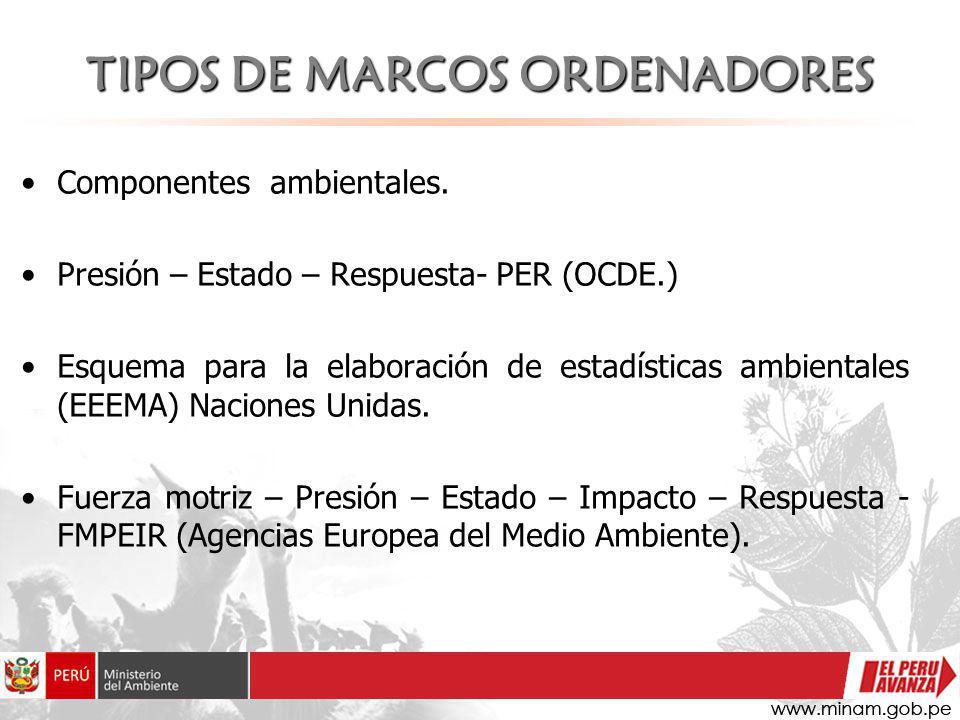 TIPOS DE MARCOS ORDENADORES Componentes ambientales. Presión – Estado – Respuesta- PER (OCDE.) Esquema para la elaboración de estadísticas ambientales
