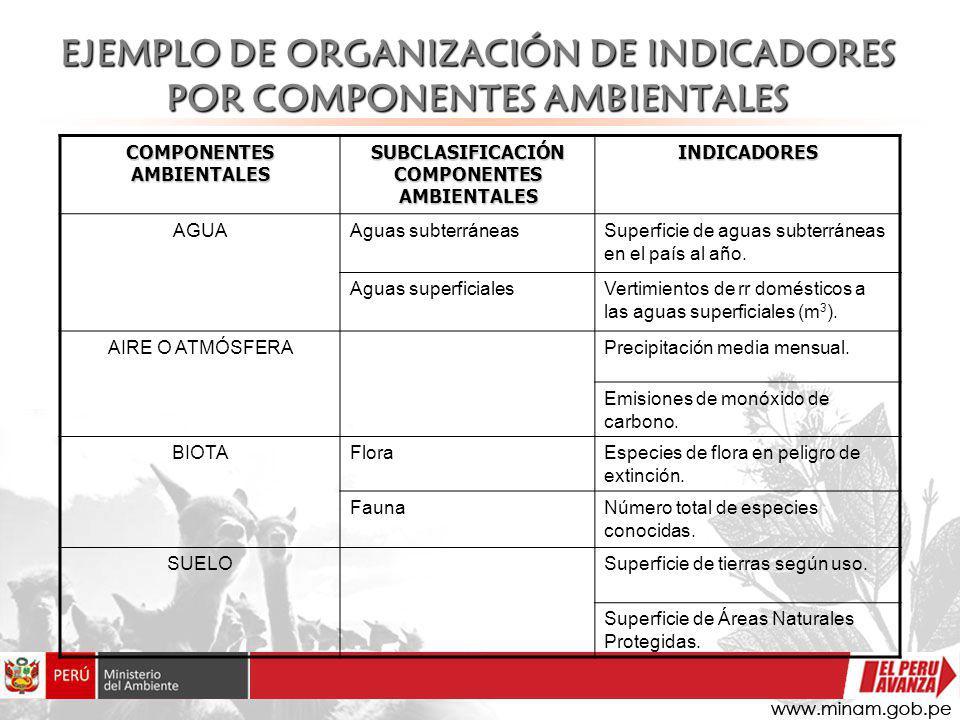 EJEMPLO DE ORGANIZACIÓN DE INDICADORES POR COMPONENTES AMBIENTALES COMPONENTES AMBIENTALES SUBCLASIFICACIÓN COMPONENTES AMBIENTALES INDICADORES AGUAAg