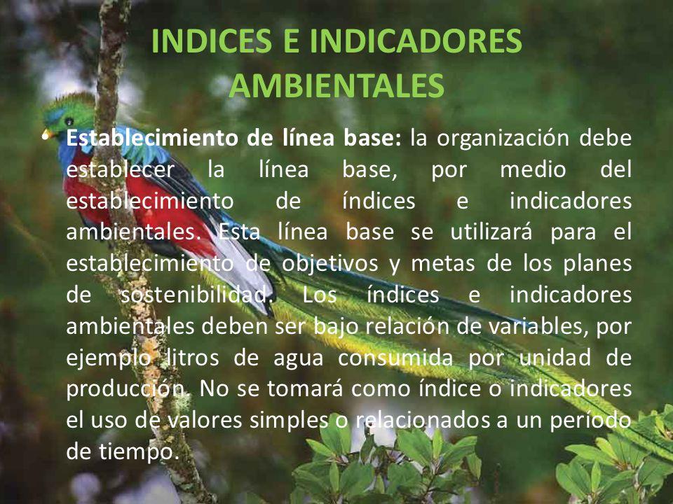 INDICES E INDICADORES AMBIENTALES Establecimiento de línea base: la organización debe establecer la línea base, por medio del establecimiento de índices e indicadores ambientales.