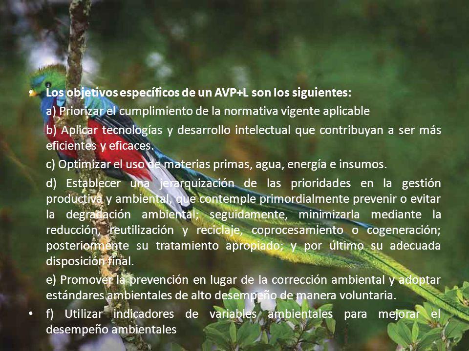 Los objetivos específicos de un AVP+L son los siguientes: a) Priorizar el cumplimiento de la normativa vigente aplicable b) Aplicar tecnologías y desarrollo intelectual que contribuyan a ser más eficientes y eficaces.