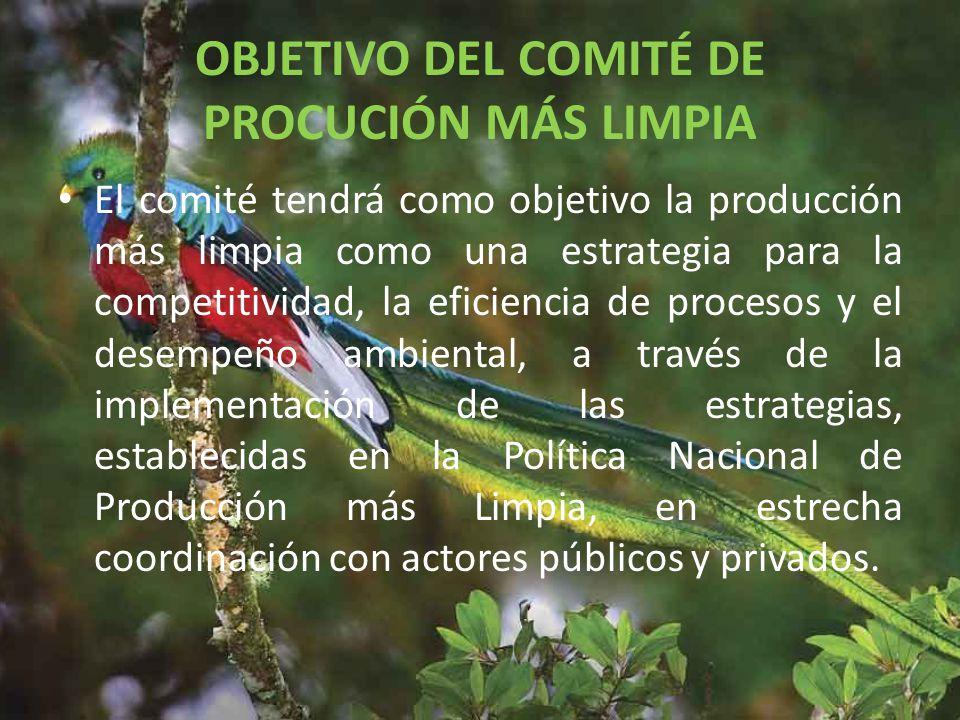 OBJETIVO DEL COMITÉ DE PROCUCIÓN MÁS LIMPIA El comité tendrá como objetivo la producción más limpia como una estrategia para la competitividad, la eficiencia de procesos y el desempeño ambiental, a través de la implementación de las estrategias, establecidas en la Política Nacional de Producción más Limpia, en estrecha coordinación con actores públicos y privados.