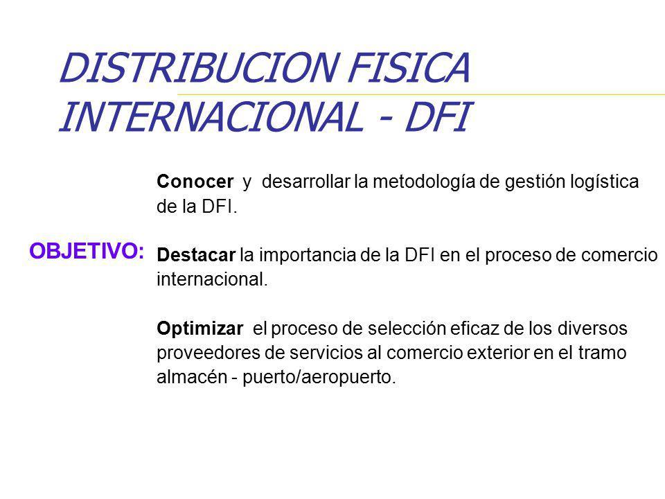 OBJETIVO: Conocer y desarrollar la metodología de gestión logística de la DFI. Destacar la importancia de la DFI en el proceso de comercio internacion