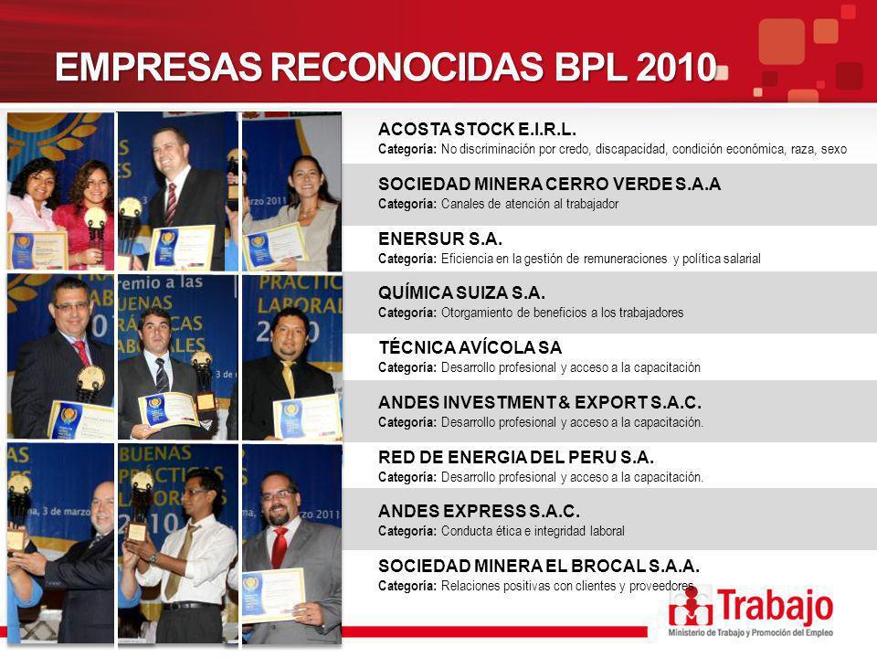 EMPRESAS RECONOCIDAS BPL 2010 ACOSTA STOCK E.I.R.L.
