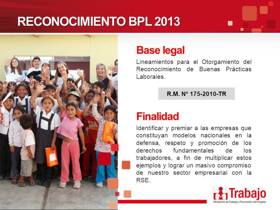 RECONOCIMIENTO BPL 2013 Lineamientos para el Otorgamiento del Reconocimiento de Buenas Prácticas Laborales. R.M. N° 175-2010-TR Finalidad Identificar