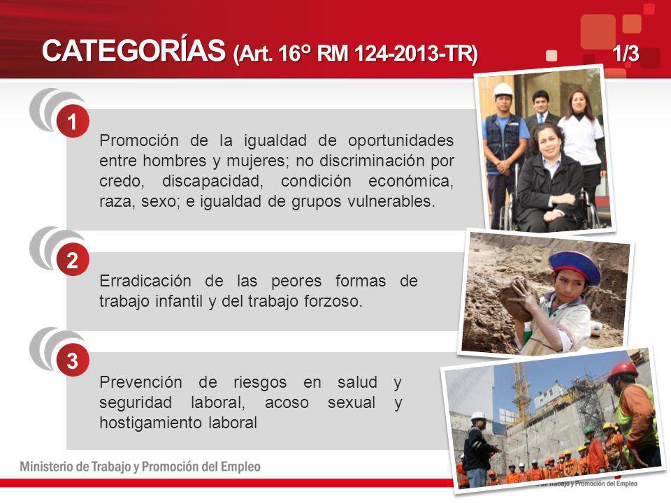 CATEGORÍAS (Art. 16° RM 124-2013-TR)1/3 1 Promoción de la igualdad de oportunidades entre hombres y mujeres; no discriminación por credo, discapacidad