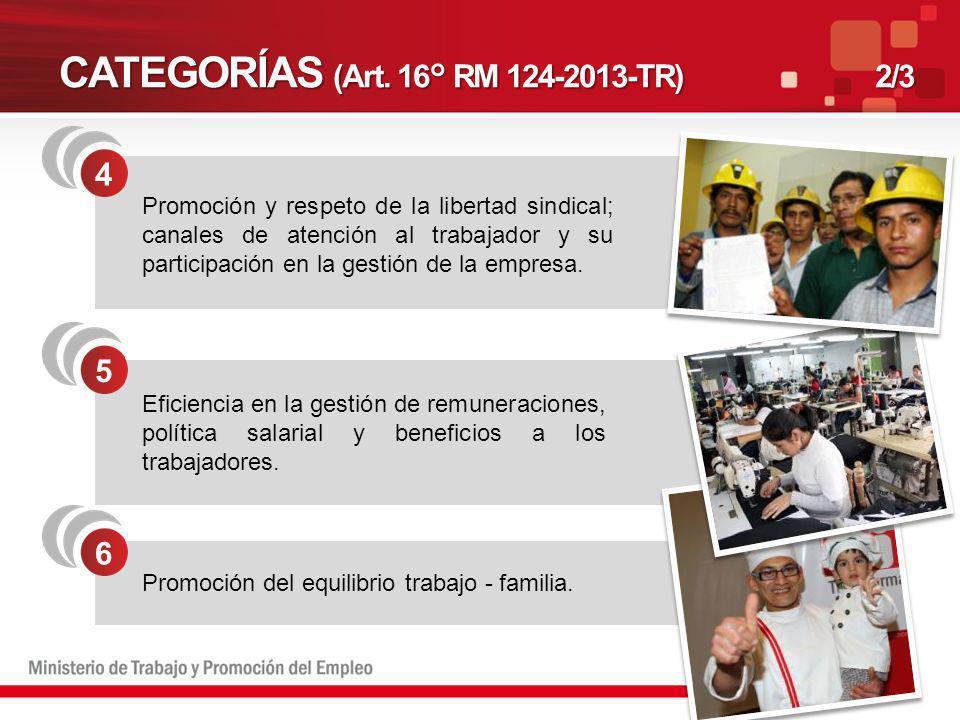CATEGORÍAS (Art. 16° RM 124-2013-TR)2/3 4 5 6 Promoción y respeto de la libertad sindical; canales de atención al trabajador y su participación en la