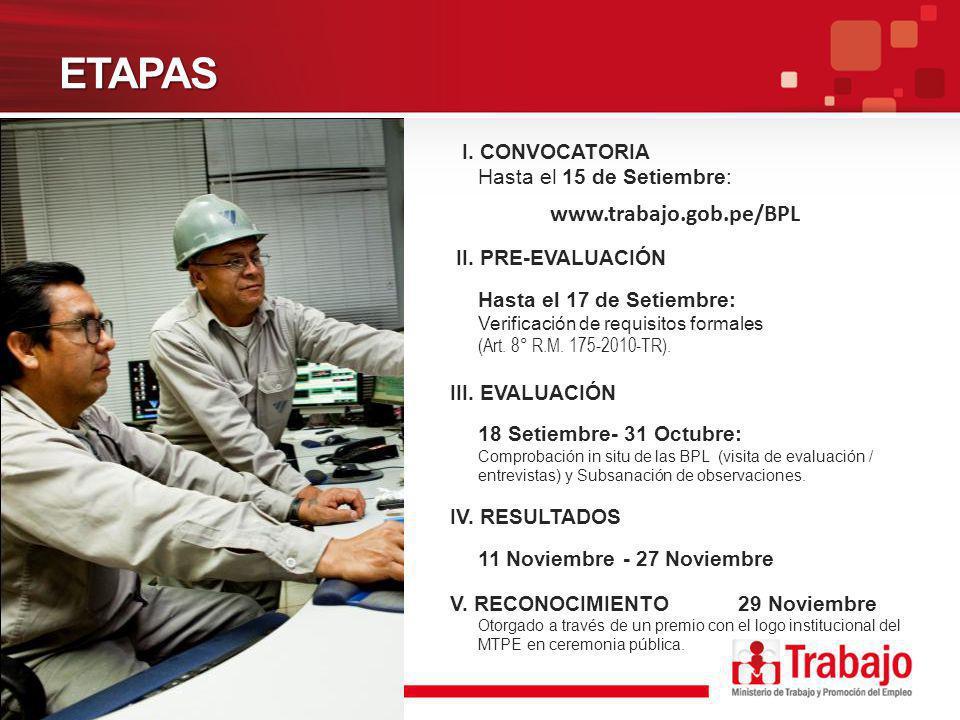 ETAPAS I. CONVOCATORIA Hasta el 15 de Setiembre: www.trabajo.gob.pe/BPL II. PRE-EVALUACIÓN Hasta el 17 de Setiembre: Verificación de requisitos formal
