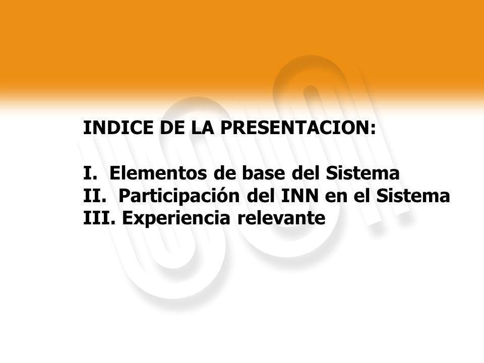 INDICE DE LA PRESENTACION: I. Elementos de base del Sistema II. Participación del INN en el Sistema III. Experiencia relevante