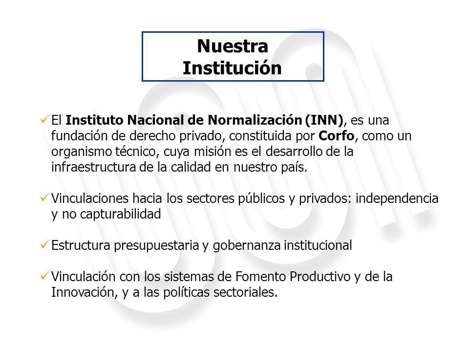 El Instituto Nacional de Normalización (INN), es una fundación de derecho privado, constituida por Corfo, como un organismo técnico, cuya misión es el desarrollo de la infraestructura de la calidad en nuestro país.