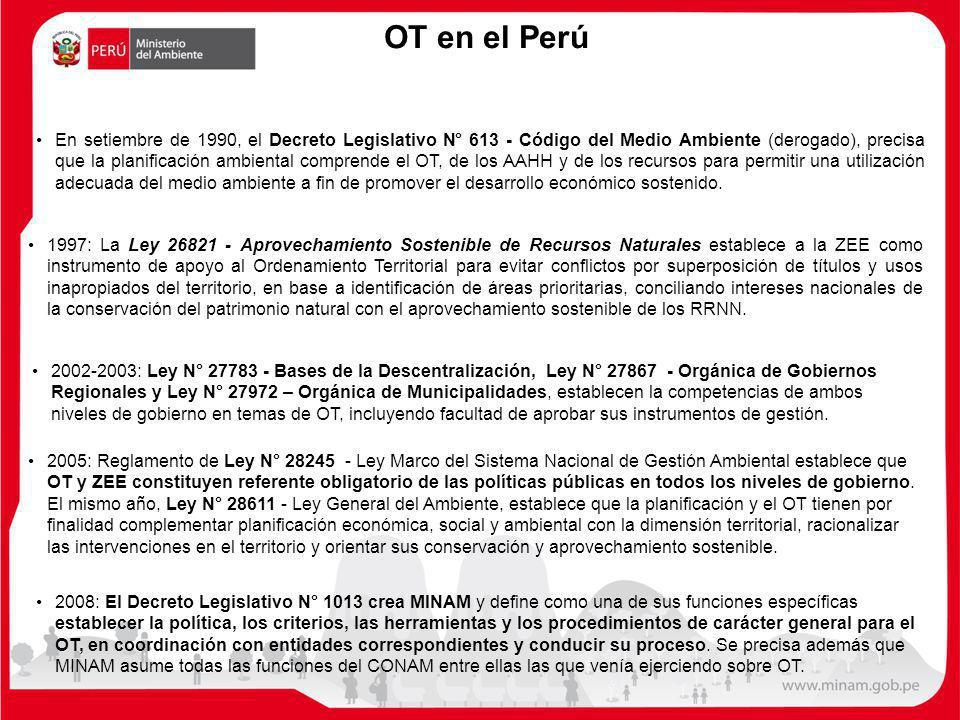 OT en el Perú En setiembre de 1990, el Decreto Legislativo N° 613 - Código del Medio Ambiente (derogado), precisa que la planificación ambiental compr