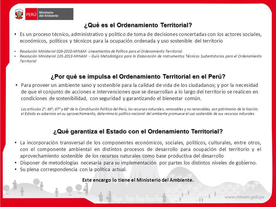 ¿Qué garantiza el Estado con el Ordenamiento Territorial? La incorporación transversal de los componentes económicos, sociales, políticos, culturales,