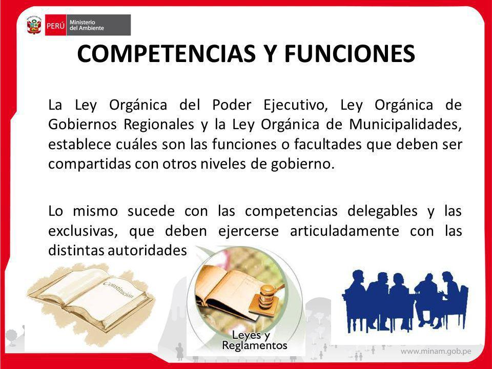 COMPETENCIAS Y FUNCIONES La Ley Orgánica del Poder Ejecutivo, Ley Orgánica de Gobiernos Regionales y la Ley Orgánica de Municipalidades, establece cuá