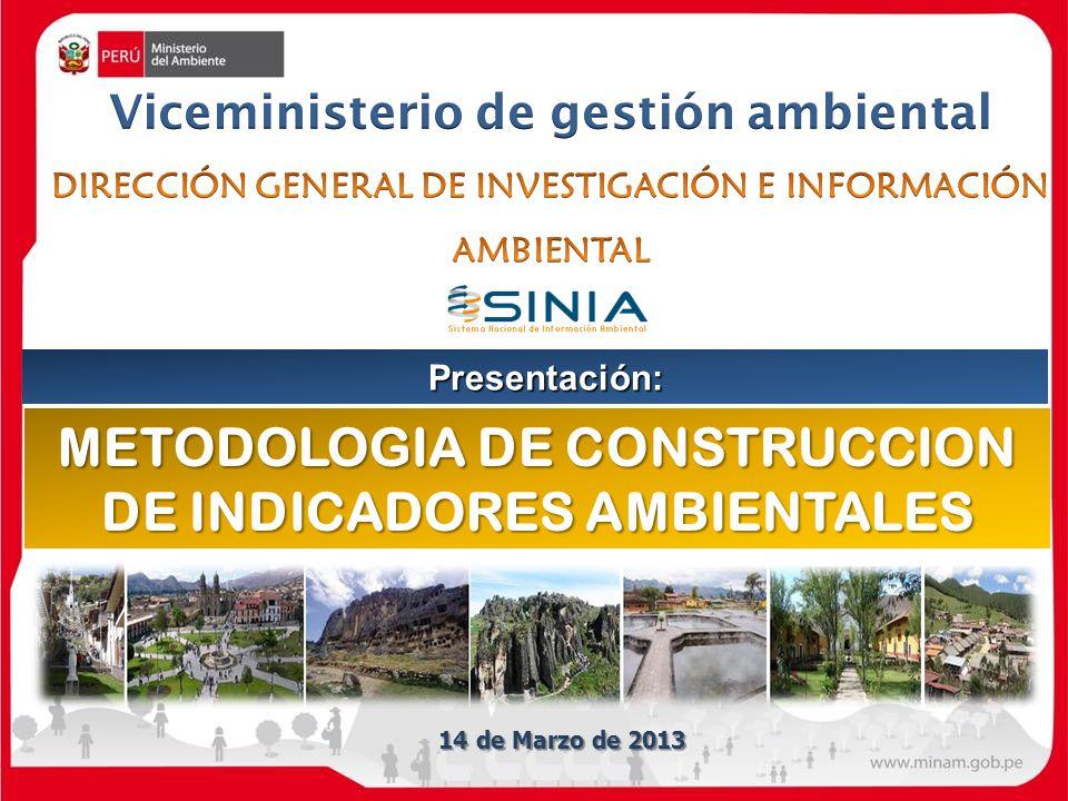 METODOLOGIA DE CONSTRUCCION DE INDICADORES AMBIENTALES Presentación: 14 de Marzo de 2013