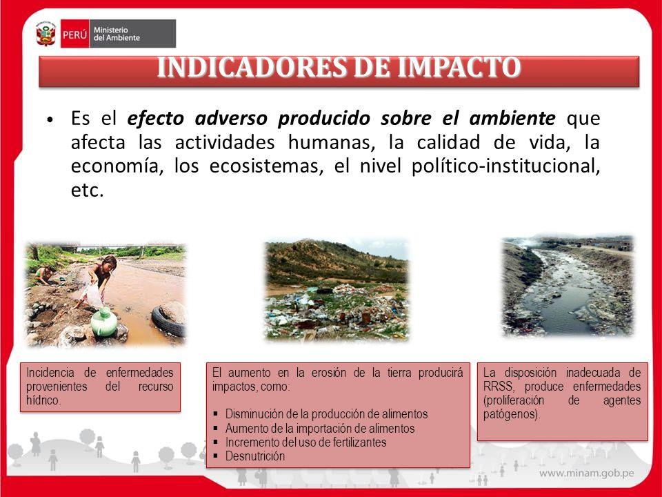 INDICADORES DE IMPACTO Es el efecto adverso producido sobre el ambiente que afecta las actividades humanas, la calidad de vida, la economía, los ecosi